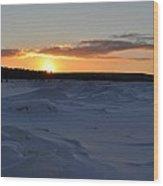 Lake Superior Winter Sunset 2 Wood Print