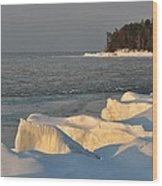 Lake Superior Winter Sunset Wood Print