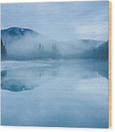 Lake Surrounded By Mountains And Forest Wood Print