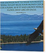 Lake Tahoe Eagle Proverbs Wood Print
