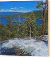 Lake Tahoe Waterfall Wood Print