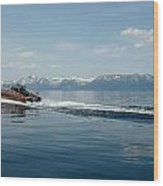 Lake Tahoe Waterskiing Wood Print