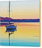 Lake Taupo Sailboat Wood Print