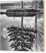 Lake Tree Wood Print