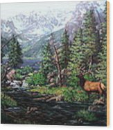 Lake Verna Elk Wood Print by W  Scott Fenton