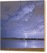 Lake View Lightning Thunderstorm Wood Print