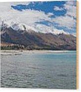 Lake Wakatipu And Snowy New Zealand Mountain Peaks Wood Print
