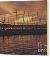 Lake Washington With Mount Rainier And Marina Wood Print