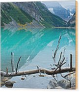 Lake With Canadian Rockies Wood Print