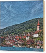 Lakefront Provincial Town Wood Print