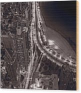 Lakeshore Drive Aloft Bw Warm Wood Print