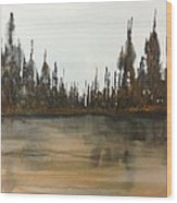 Lakeside - Autumn Orange Hue Wood Print