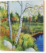 Lakeside Birches Wood Print
