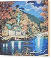 Lakeside Cabin Wood Print