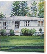 Lakeside Cottage Wood Print