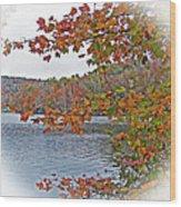 Lakeside In The Fall Wood Print