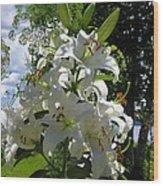 Lakeside Lilies Wood Print