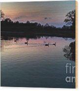 Lakeside Sunset Reflections Wood Print