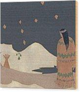 Lakota Woman With Winter Constellations Wood Print by Dawn Senior-Trask