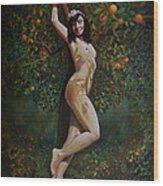 Lala Entre Las Naranjas Wood Print
