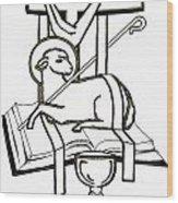 Lamb And Book Wood Print