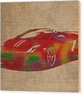 Lamborghini Gallardo 2013 Classic Sports Car Watercolor On Worn Distressed Canvas Wood Print