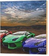 Lamborghini Triplet Wood Print