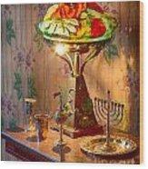 Lamp And Menorah Wood Print