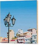 Lamp In Agios Nikolaos Wood Print by Luis Alvarenga