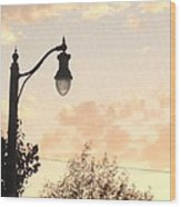 Lamp Post And Cotton Candy Sunset Wood Print