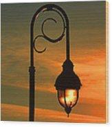 Lamp Post Glow Wood Print