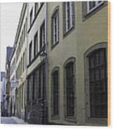 Lamp Post In Cologne Germany Alley Wood Print