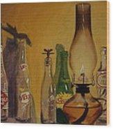 Lamp With Pop Bottles Wood Print