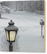 Lamppost In Snow Wood Print