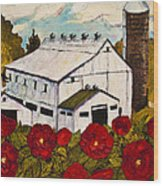 Lancaster Red Rose And Barn Wood Print by Paris Wyatt Llanso
