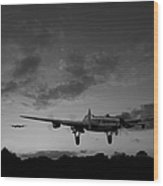 Lancasters Taking Off At Sunset Bw Wood Print