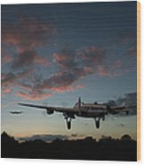 Lancasters Taking Off At Sunset Wood Print