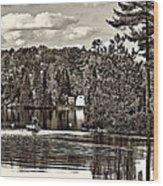 Land Of Lakes Sepia Wood Print