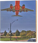Landing At Midway Wood Print