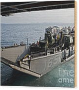 Landing Craft Utility Departs The Well Wood Print