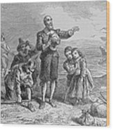 Landing Of The Pilgrims, 1620, Engraved By A. Bollett, From Harpers Monthly, 1857 Engraving B&w Wood Print