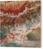 Landsat Pic Of Turfan Depression In Weste Wood Print