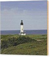Landscape At Yaquina Lighthouse Wood Print