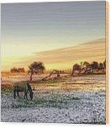 Landscape And Horse Wood Print