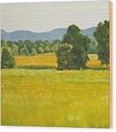 landscape art print oil painting for sale Fields Wood Print
