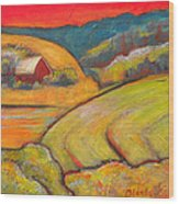 Landscape Art Orange Sky Farm Wood Print