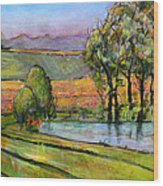 Landscape Art Scenic Fields Wood Print by Blenda Studio