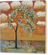 Landscape Art Scenic Tree Tangerine Sky Wood Print by Blenda Studio