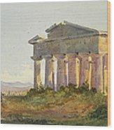 Landscape At Paestum Wood Print