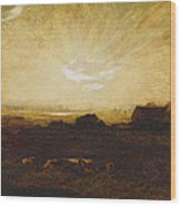 Landscape At Sunset Wood Print by Marie Auguste Emile Rene Menard